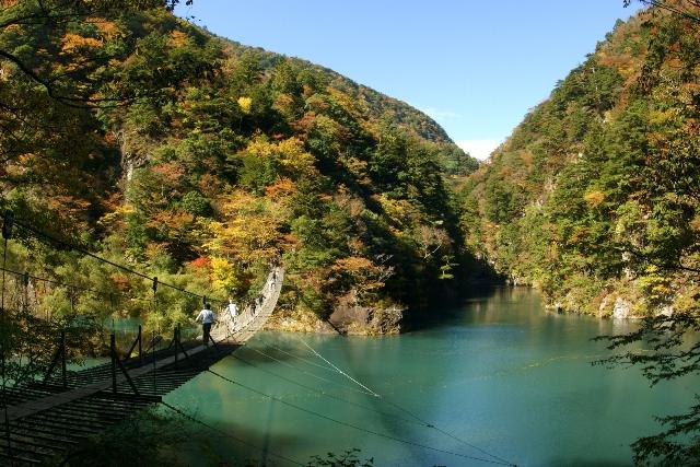 寸又峡の紅葉と「夢の吊橋」(川根本町)